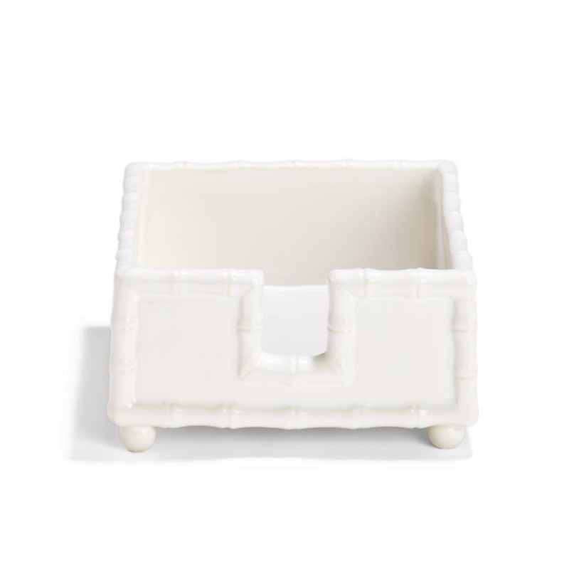 Two's Company Napkin Holder - Cocktail - Faux Bamboo - White