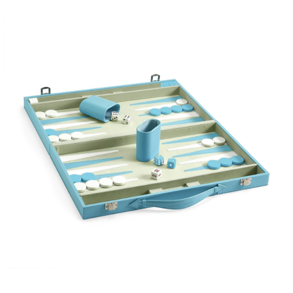 Backgammon Set - Light Blue Faux Leather