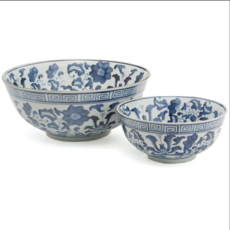 Bowl - Lotus Flower - Blue & White -