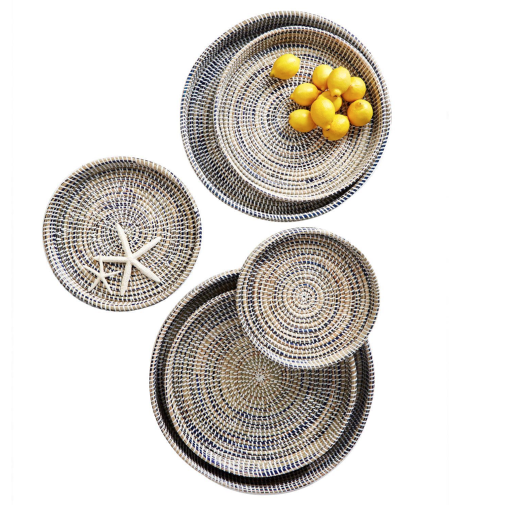 Tray - Woven - Blue/Natural - Round -
