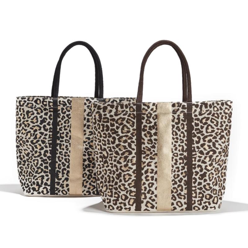 Two's Company Tote - Canvas Gold Foil Leopard Print -