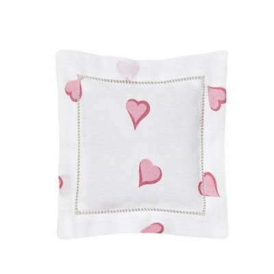 Sachet - Embroidered - Square - Coeurs - Pink