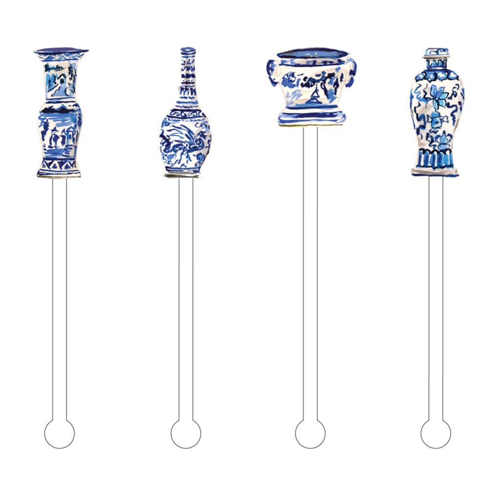 Stir Sticks - More Blue & White  Design Options!