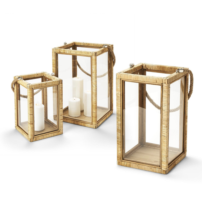 Two's Company Lantern - Rattan w/Rope Handle - Three Sizes