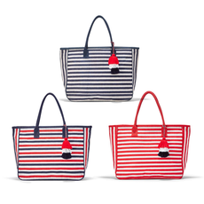 MH Tote - Jute - Striped with Piping & Tassel Accent - 22.5 x 14.5