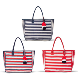 Tote - Jute - Striped with Piping & Tassel Accent - 22.5 x 14.5