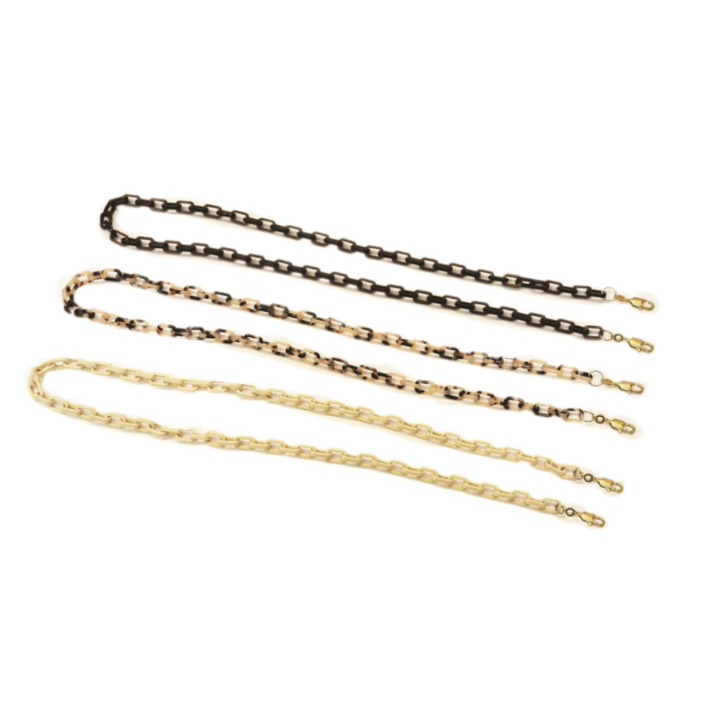 Face Mask Chain - Resin Rectangle Link - Blk, Ivory OR Tortoise
