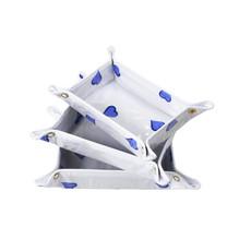 D. Porthault Travel Tray - Coeurs - Blue - 3 Sizes