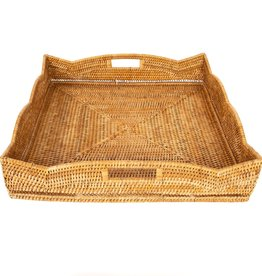 """Artifacts Trading Company Tray - Rattan Scallop - Square - Honey Brown - 24"""""""
