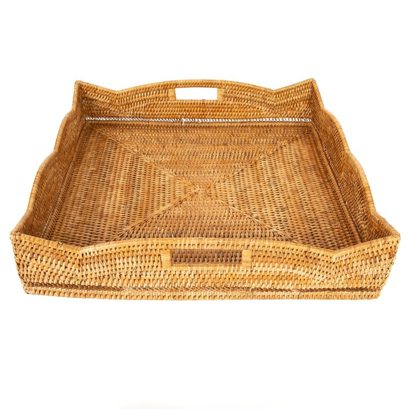 Artifacts Trading Company Tray - Rattan Scallop - Square - Honey Brown - 24""
