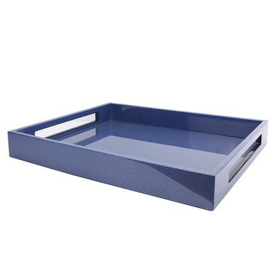 """Tray - Lacquered -  Blue Shagreen - 16"""" x 14"""""""