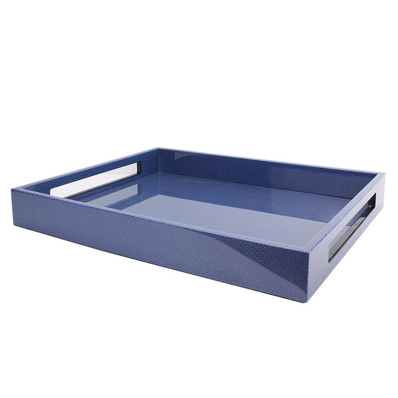 """MH Tray - Lacquered -  Blue Shagreen - 16"""" x 14"""""""