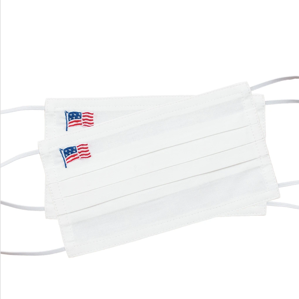 Face Mask - American Flag Stars & Stripes - White Cotton