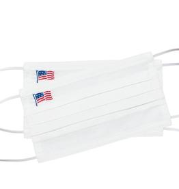 Face Mask - American Flag Stars & Stripes - White Cotton
