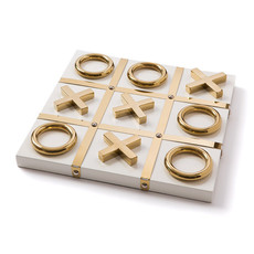 Tic Tac Toe - Lacquered Wood  - White & Gold