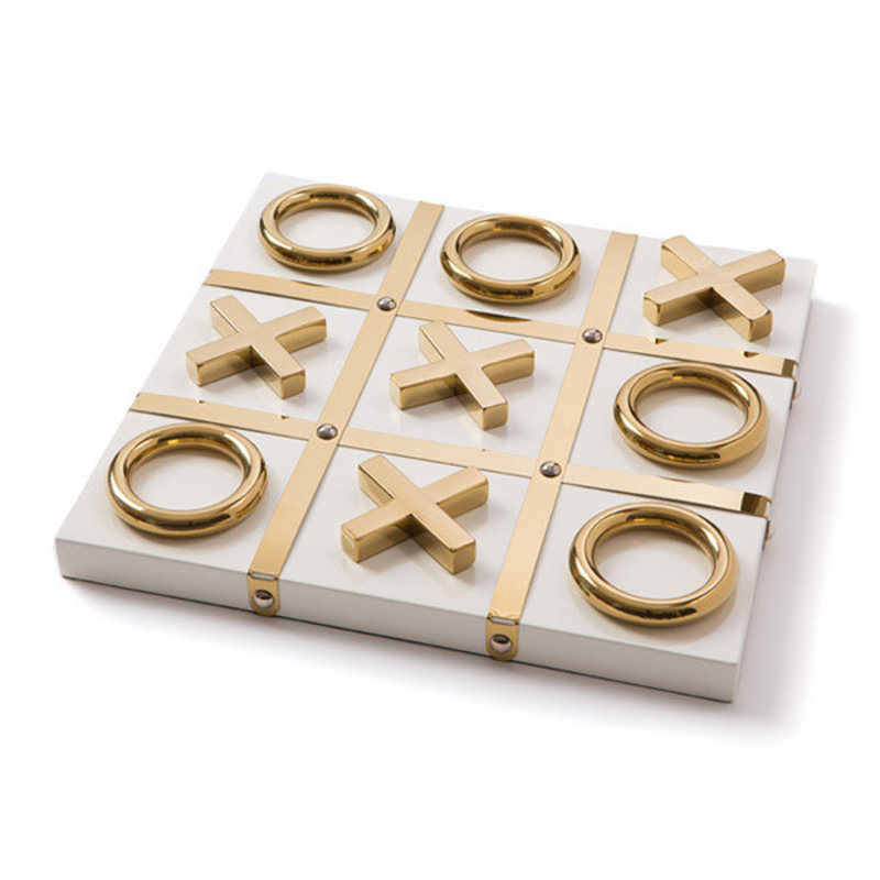MH Tic Tac Toe - Lacquered Wood  - White & Gold