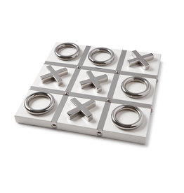 MH Tic Tac Toe - Lacquered Wood - White & Silver