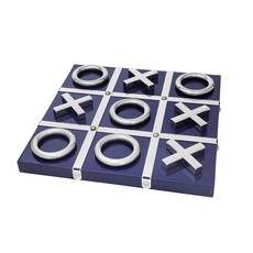 Tic Tac Toe - Lacquered Wood - Blue & Silver