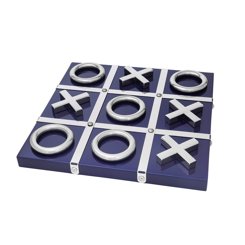 MH Tic Tac Toe - Lacquered Wood - Blue & Silver