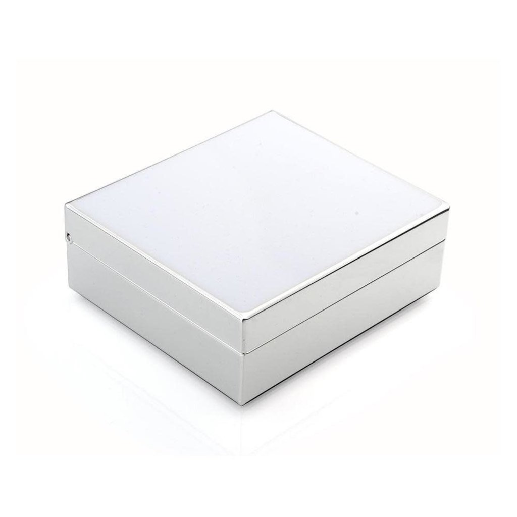 "Box - Trinket - Lacquered - 4"" Sq - White & Silver"