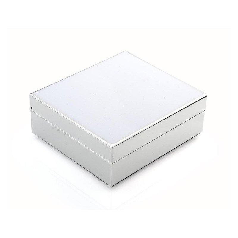 "Box - Trinket - Lacquered - 4"" Sq - White & Silver"