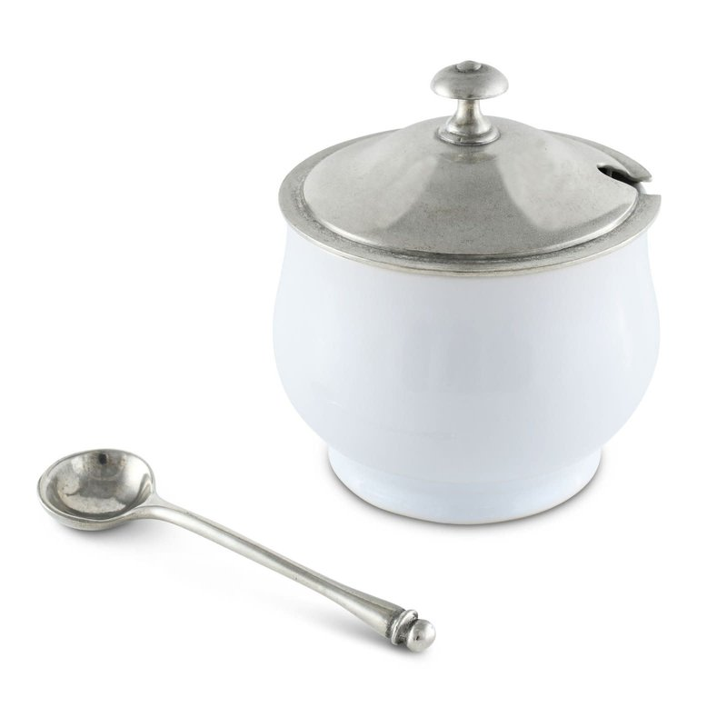 Vagabond House Sugar Bowl - Classic w/Spoon - Porcelain & Pewter