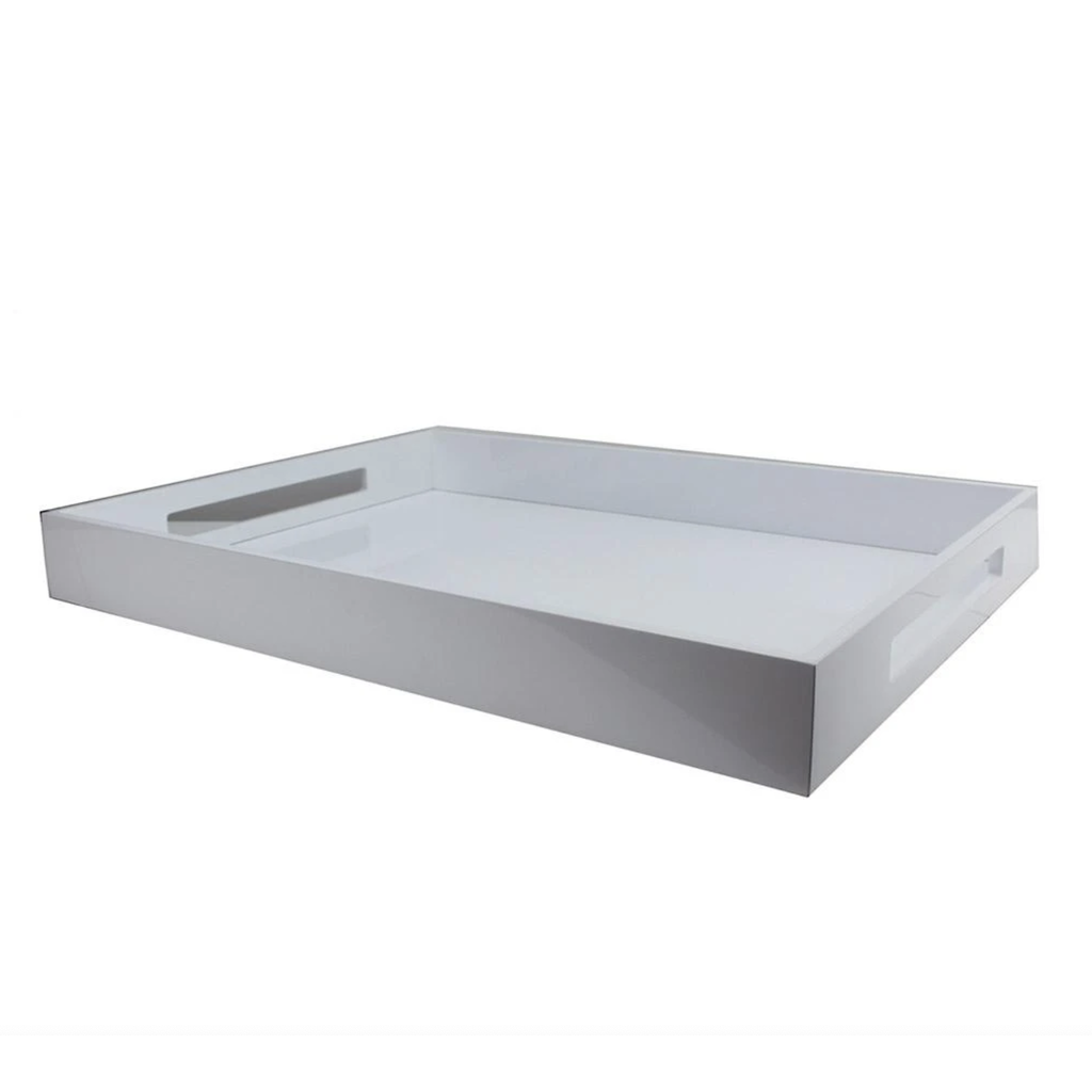 Tray - Lacquered - Ottoman - White - 22 x 16 x 2.5