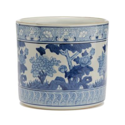 Cachepot - Blue & White - Garden Scene Planter