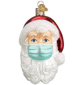 PRE-ORDER Ornament - Blown Glass - Santa in Face Mask