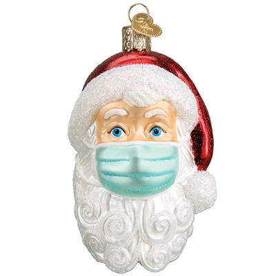 PRE-ORDER Ornament - Blown Glass - Santa in Face Mask
