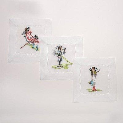 Cocktail Napkins - Garden Freak Brand - The Garden Girls - S/6 - Embroidered