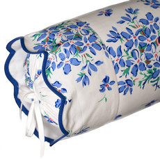 D. Porthault Violettes - Blue - Blue Scallop - Bedding -  Sham - Neckroll
