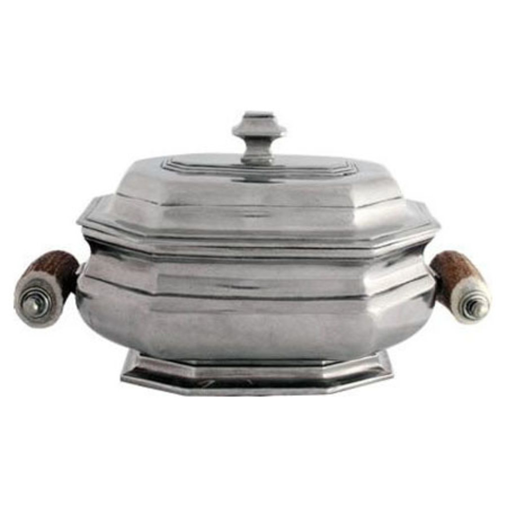 MH Tureen - Lidded Pewter with Shed Horn Handles