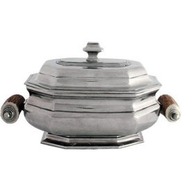 Tureen - Lidded Pewter with Shed Horn Handles