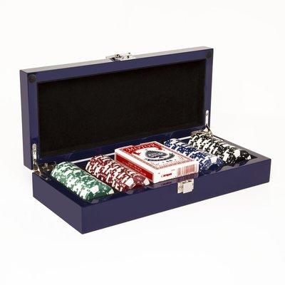 Poker Set - Lacquered - Blue - 100 Chip Set