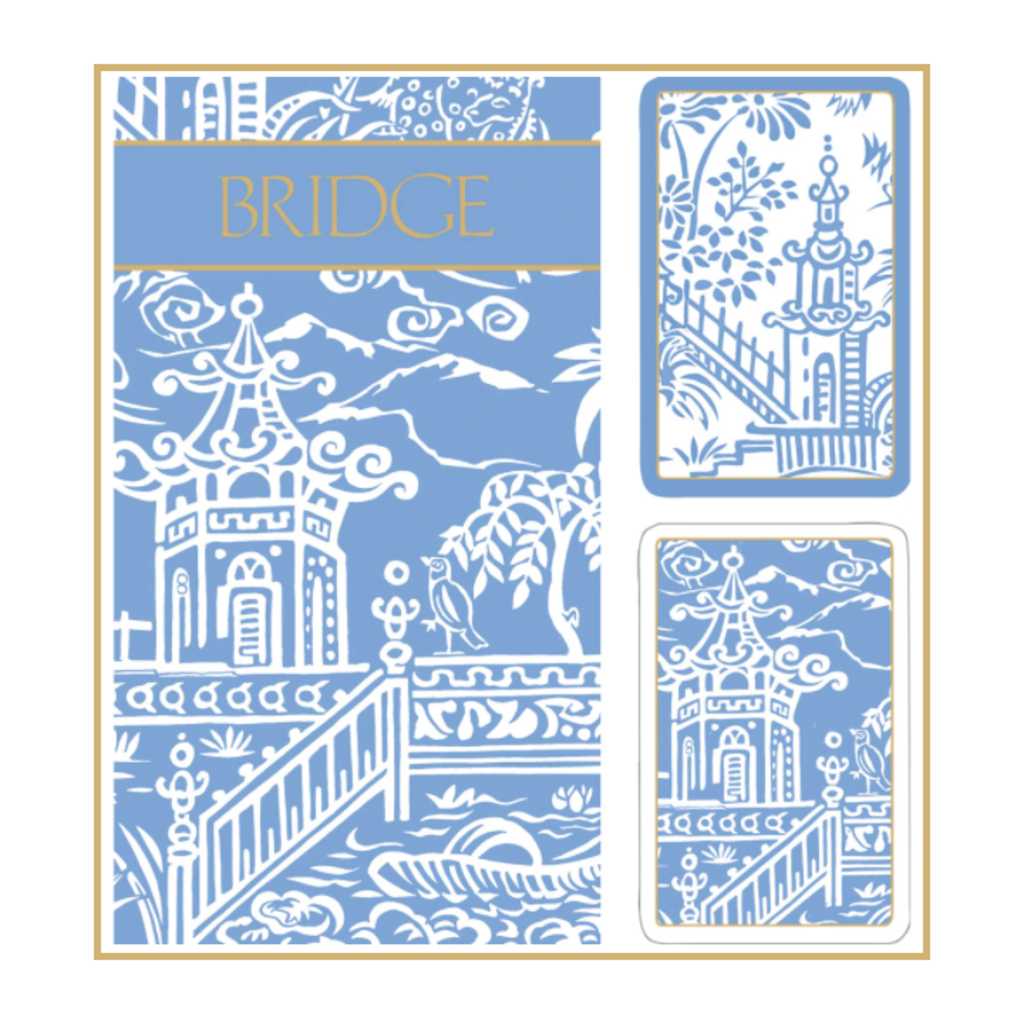 MH Bridge Set - 2 Decks & 2 Score Pads -  Blue Pagoda