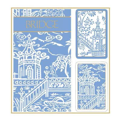 Bridge Set - 2 Decks & 2 Score Pads -  Blue Pagoda