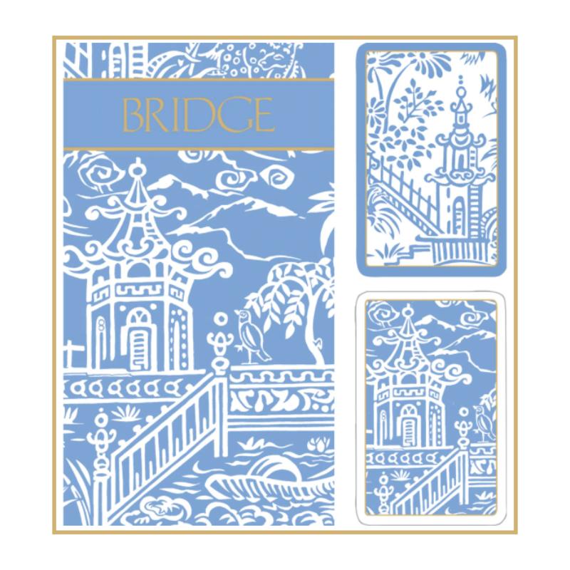 Caspari Bridge Set - 2 Decks & 2 Score Pads -  Blue Pagoda
