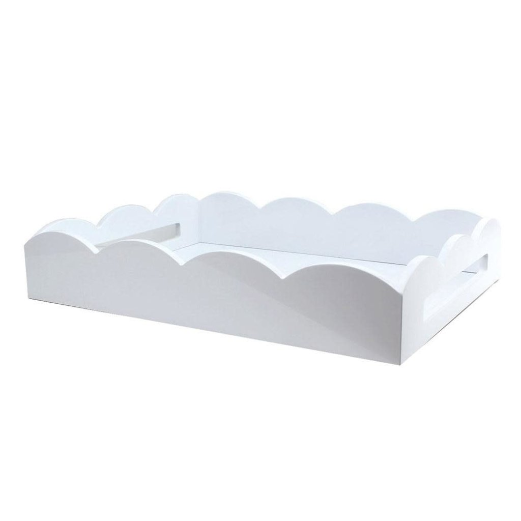 Addison Ross LTD Tray - Scalloped Lacquered - White