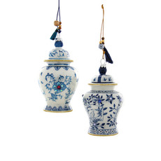 Ornament - Blown Glass - Blue & White Ginger Jar - Assorted