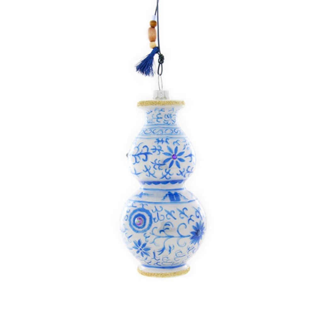 Ornament - Blown Glass - Blue & White Vase