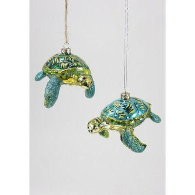 Ornament - Blown Glass - Glitter Turtle