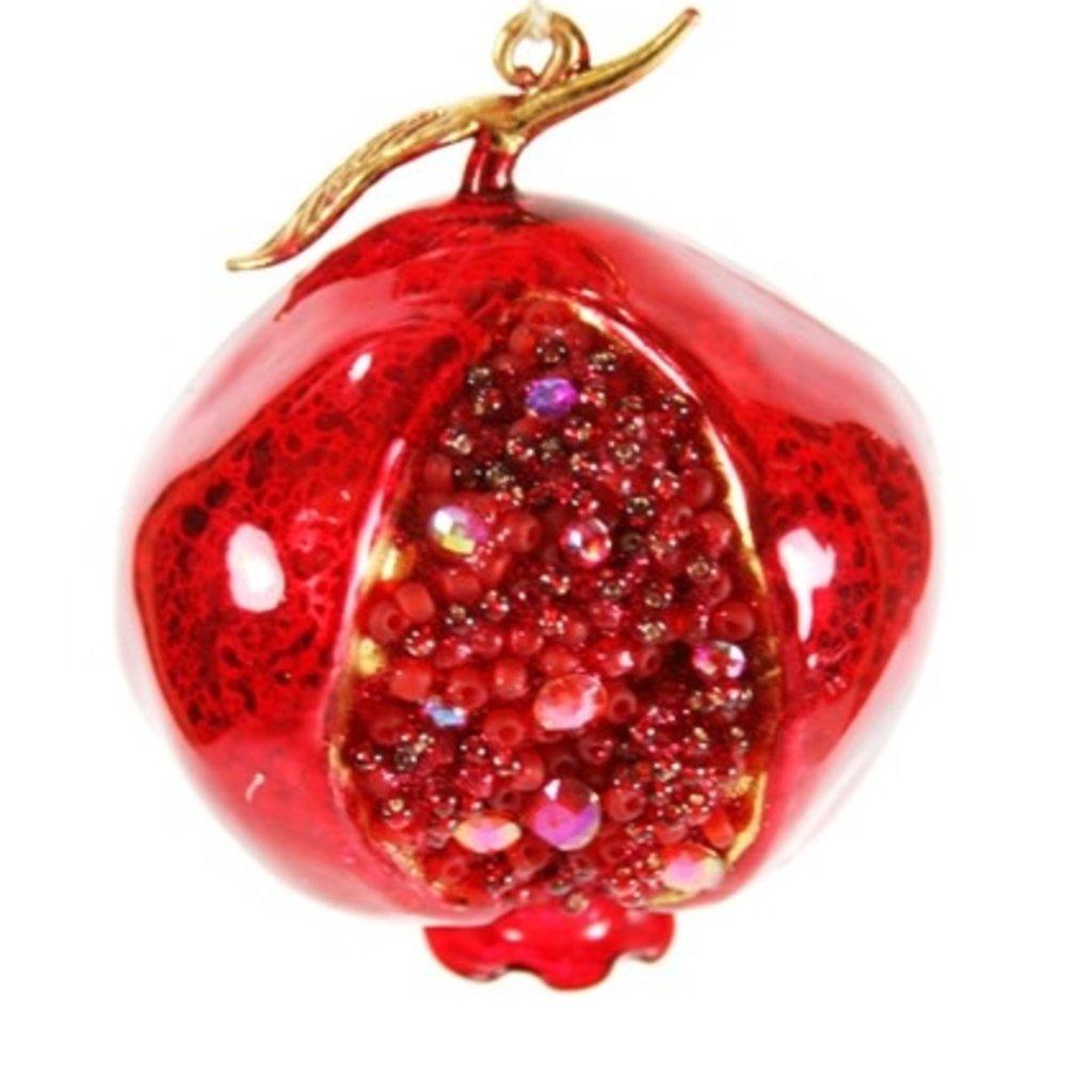 Ornament - Blown Glass - Jeweled Pomegranate - Red