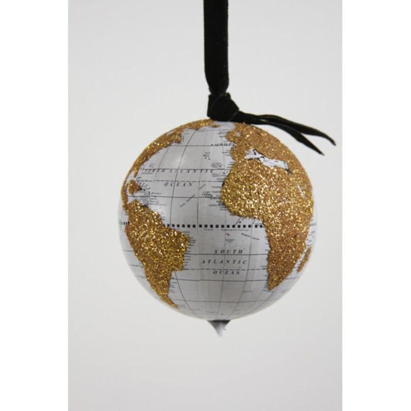 Ornament - Blown Glass - World Globe Blue