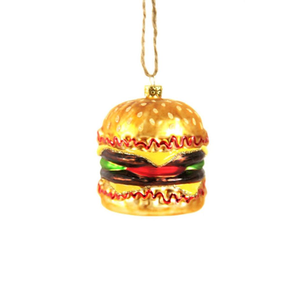 Ornament - Blown Glass - Double Cheeseburger