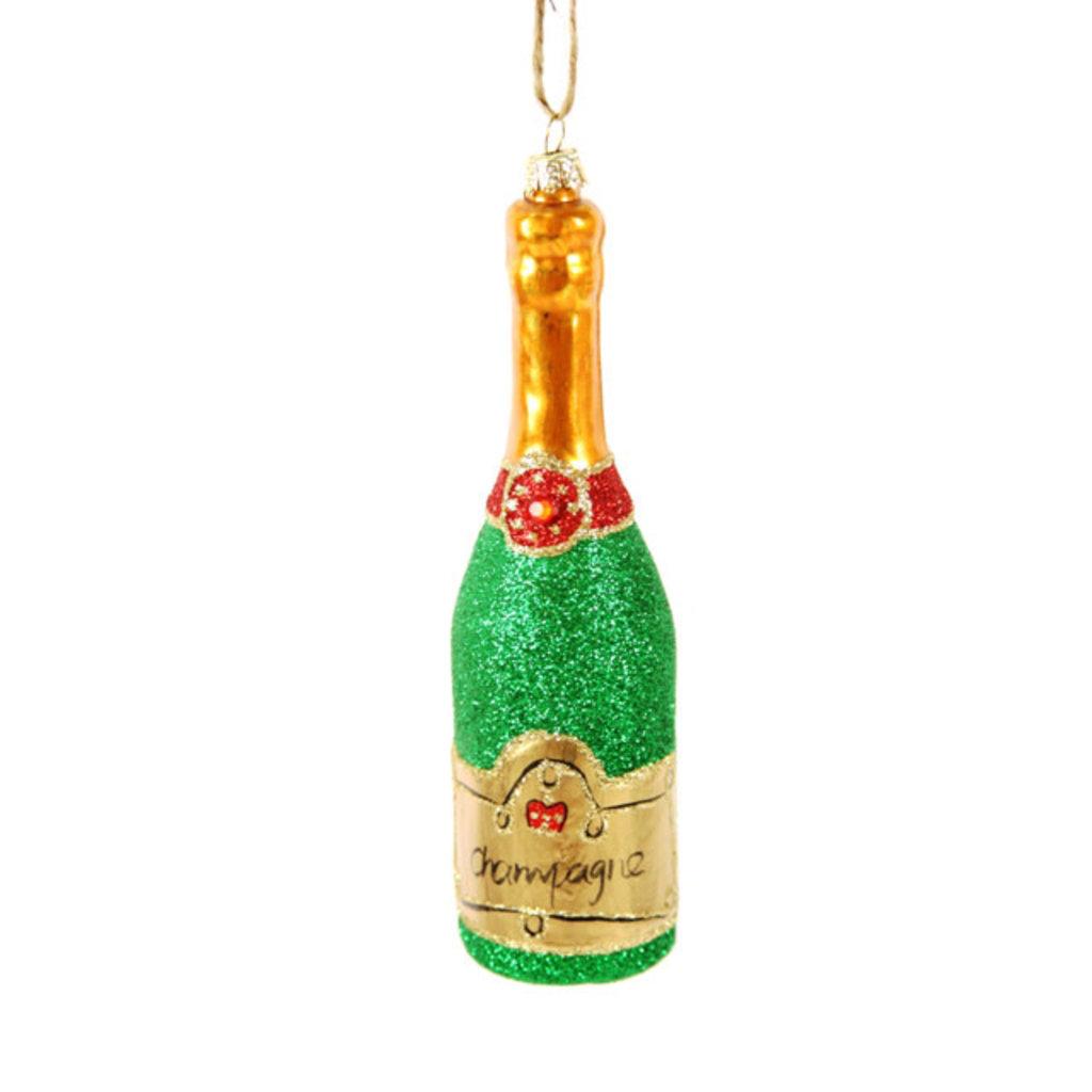 Ornament - Blown Glass - Glittered Champagne - Green