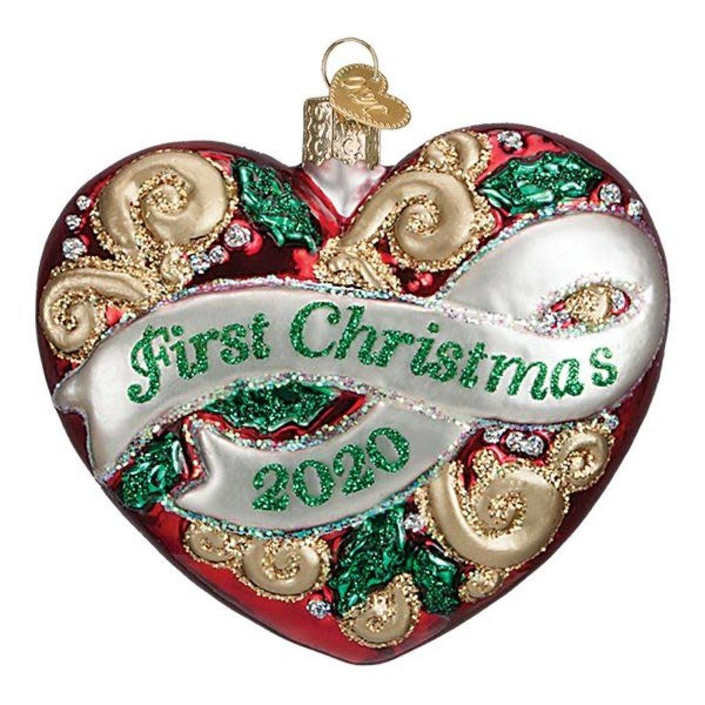 Ornament - Blown Glass - 2020 First Christmas Heart