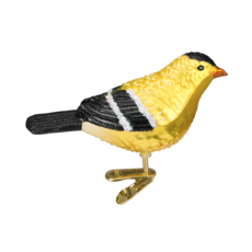 Ornament - Blown Glass - American Goldfinch