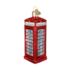 Ornament - Blown Glass - English Phone Booth