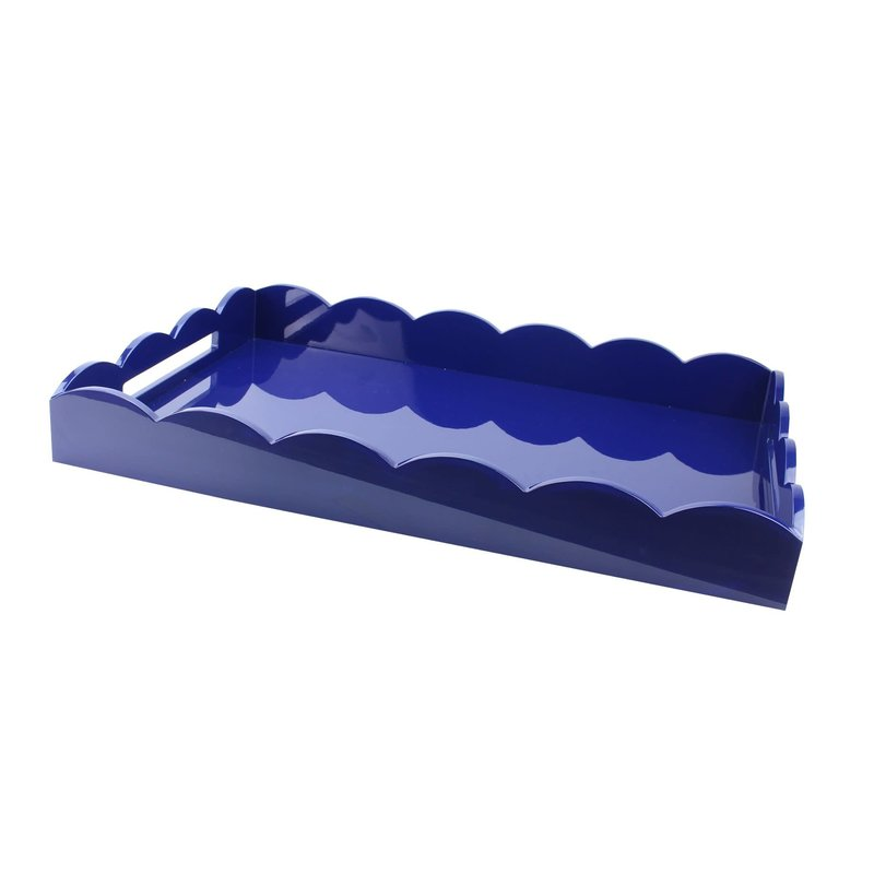 Addison Ross LTD Tray - Scalloped Lacquered - Blue